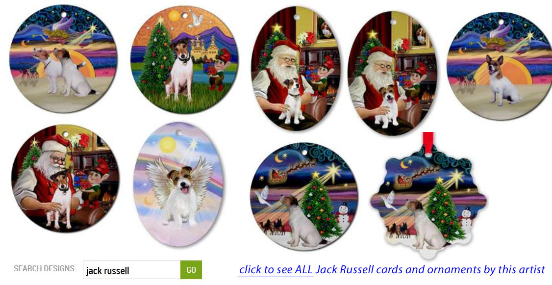 Jack Russell Christmas Cards and Ornaments